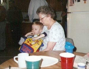 Bub sitting on Grandma's lap